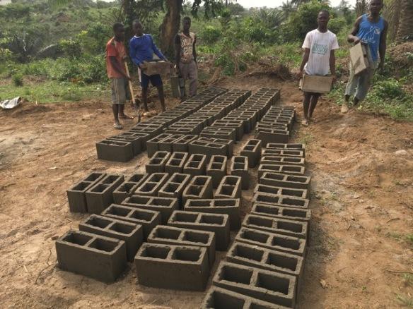 Newly molded bricks