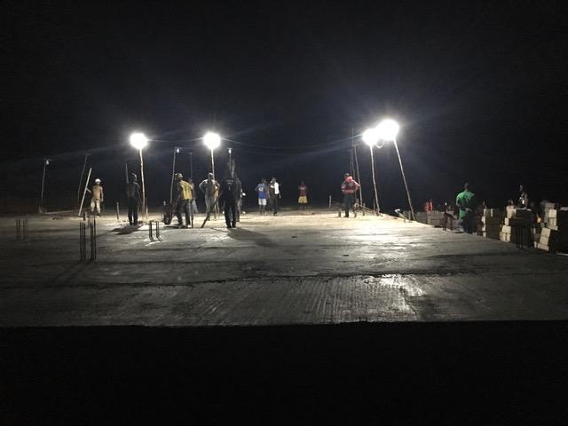 foundation casting at night